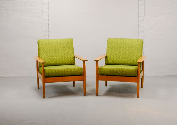 Mid Century Scandinavian Lounge Chairs From France And Son 1960s Set Of 2
