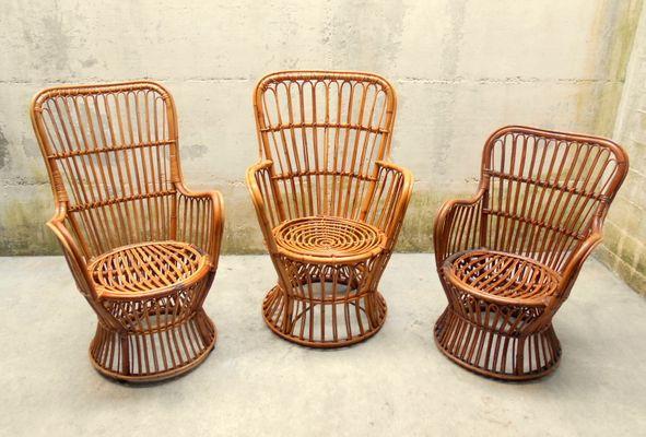 Set de Salon ou Set de Jardin Vintage en Rotin de Vittorio Bonacina ...