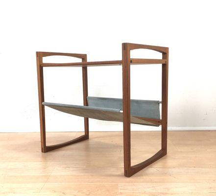 newspaper rack 1. Beautiful Rack Danish Table With Suede Newspaper Rack From Sika Mbler 1960s 1 In A