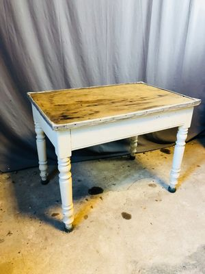 Vintage French Side Table With Tin Borders U0026 Wood Top 1
