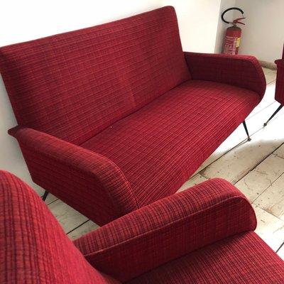 Mid-Century Italian Red Sofa & 2 Armchairs