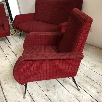 mid century italian red sofa 2 armchairs for sale at pamono rh pamono com red sofa furniture pretoria red sofa furniture pretoria