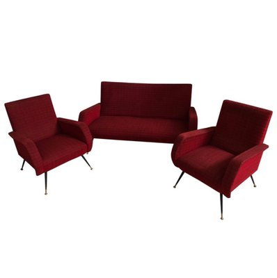 Mid Century Italian Red Sofa 2 Armchairs For Sale At Pamono