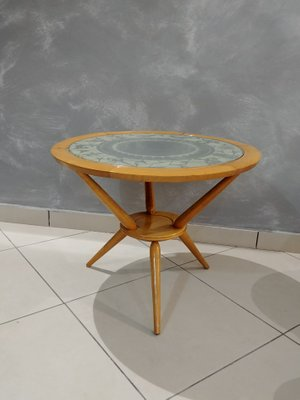 Round Coffee Table In Wood With Zodiac Glass Top, 1950s 1