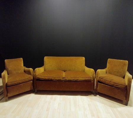2 Sitzer Sofa Mit 2 Sesseln In Samt 1950er Bei Pamono Kaufen
