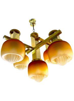 GroBartig Kronleuchter Von Gaetano Sciolari Mit Goldenen Mazzega Glas Leuchten,  1960er 1