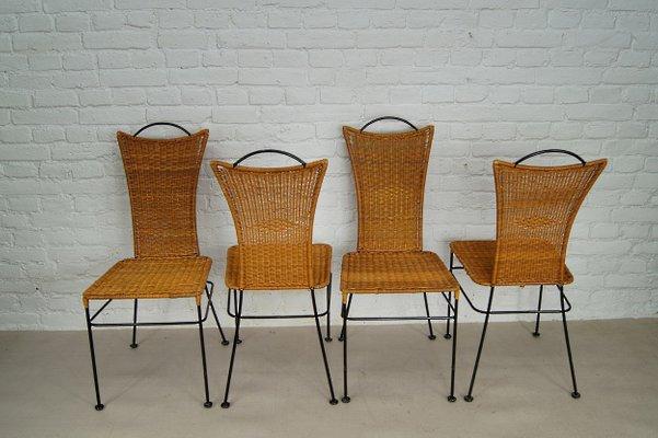 Sedie In Midollino.Sedie In Ferro E Vimini Germania Anni 60 Set Di 4