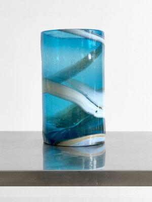 Vintage Large Blue Blown Glass Cylinder Vase For Sale At Pamono