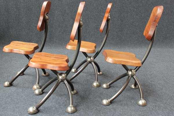 Vintage Brutalist Style Chairs, Set Of 4 2