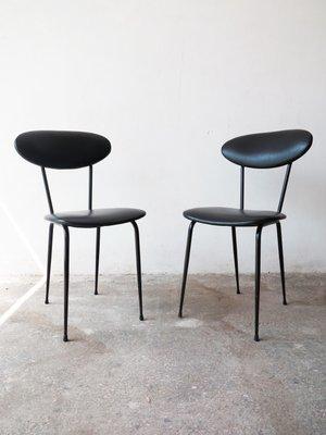 Sedie Di Pelle Design.Sedie In Pelle Nera Anni 50 Set Di 2