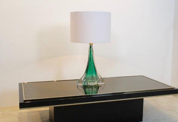 Merveilleux Handmade Translucent Glass Table Lamp From Boussu, 1960s