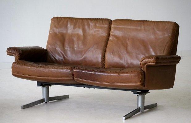 Vintage Modell Ds 31 Leder 2 Sitzer Sofa Von De Sede 2er Set Bei