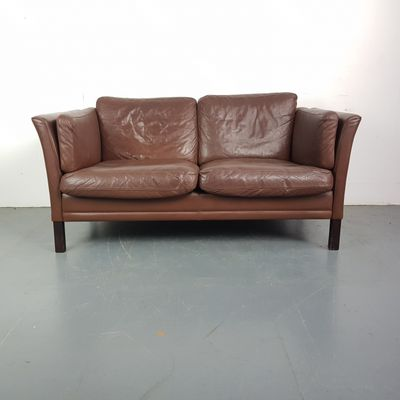 Vintage 2 Seater Brown Leather Sofa 1