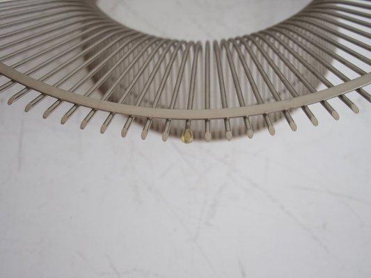 Mid-Century Couchtisch mit Drahtfuß & runder Glasplatte von Warren Platner für Knoll International