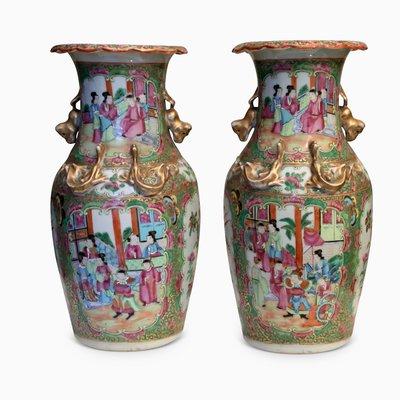 Antike Chinesische Canton Famille Rose Vasen 2er Set Bei Pamono Kaufen