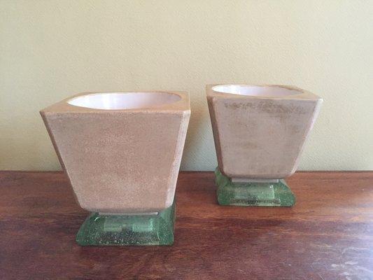 Vintage Mortier Art Deco Tischlampen Aus Keramik Glas Von Saint Gobain 2er Set