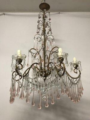 Lampadario Cristallo A Gocce.Lampadario Vintage Con Perle In Cristallo E Gocce In Vetro Di Murano