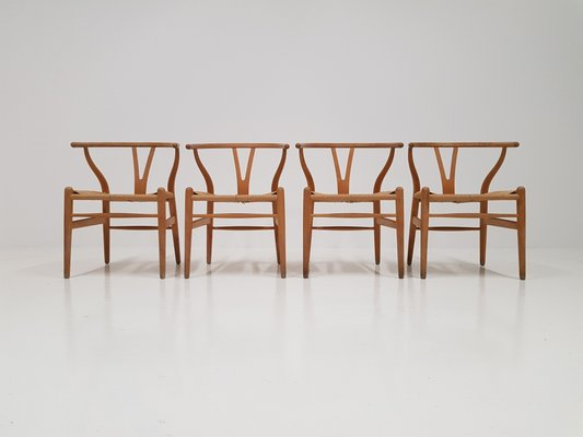 ch24 wishbone chairs by hans j wegner for carl hansen søn set of