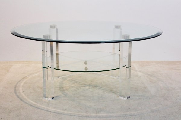 Belgian Lucite Brass Glass Coffee Table 1970s For Sale At Pamono