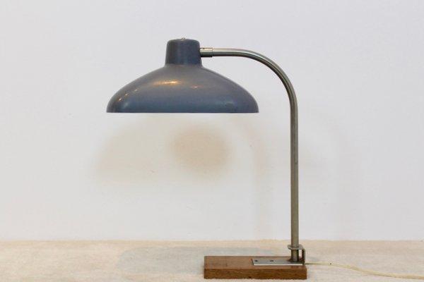 Lampe de bureau en acier bakélite & chêne belgique 1950s en vente