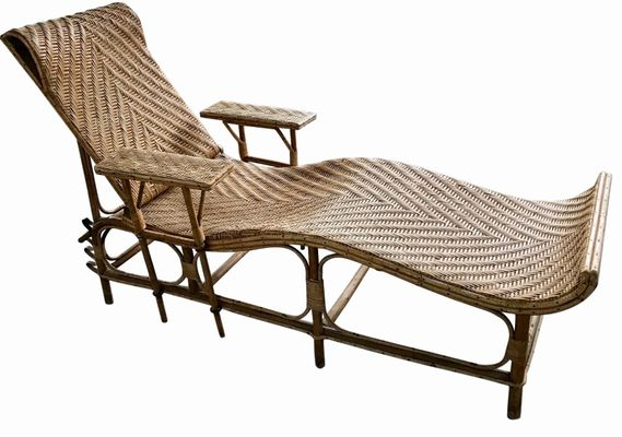 b57704ac3762b Vintage Adjustable Bamboo   Rattan Chaise Lounge for sale at Pamono