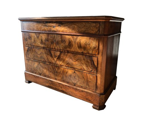 Antique Louis Philippe Walnut Commode With Veneered Drawers For Sale