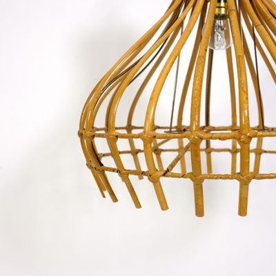 Lampe En Jour De Suspension Forme À Avec Cage1960s Rotin Abat iwOPTZukX