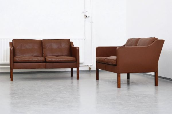 Model 2422 Brown Leather 2 Seater Sofas By Børge Mogensen For Fredericia Set Of