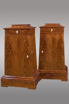 Antique Danish Trapezoidal Mahogany Cabinets With Drawer On Top, Set Of 2 2
