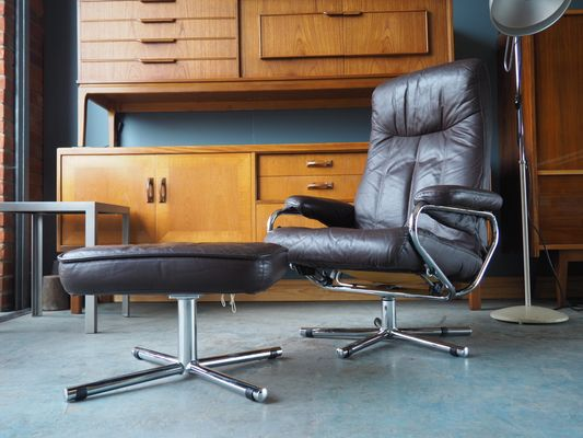 Magnificent Mid Century Brown Leather Swivel Reclining Chair Footstool From Skoghaug Industri Machost Co Dining Chair Design Ideas Machostcouk