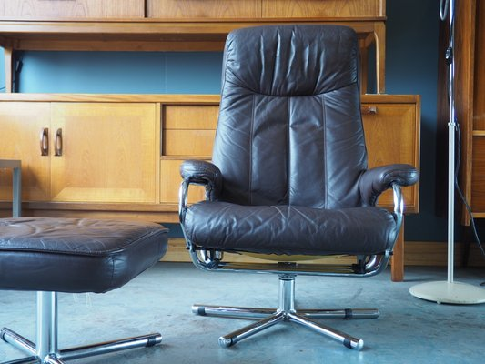 Terrific Mid Century Brown Leather Swivel Reclining Chair Footstool From Skoghaug Industri Lamtechconsult Wood Chair Design Ideas Lamtechconsultcom