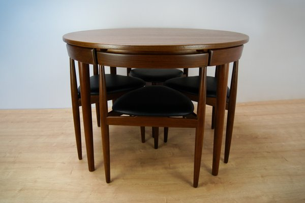 Model Roundette 630 Dining Table And Chairs Set By Hans Olsen For Frem  Røjle, 1950s