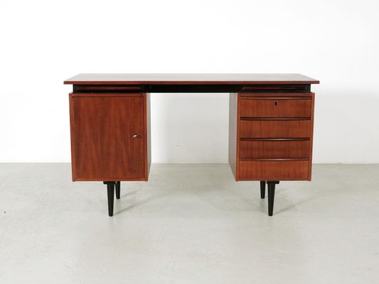 Teak Writing Desk With Extendable Pull Out Shelves 1960s 1