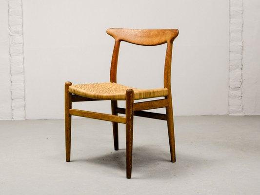 Model W2 Oak Woven Cane Side Chair By Hans J Wegner For C M Madsen