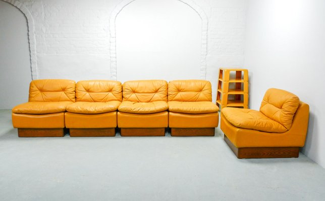 Tremendous Mid Century Deep Yellow Leather Modular Sofa Set From Dreipunkt 1970S Short Links Chair Design For Home Short Linksinfo