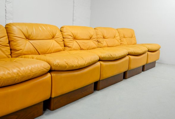 Strange Mid Century Deep Yellow Leather Modular Sofa Set From Dreipunkt 1970S Short Links Chair Design For Home Short Linksinfo
