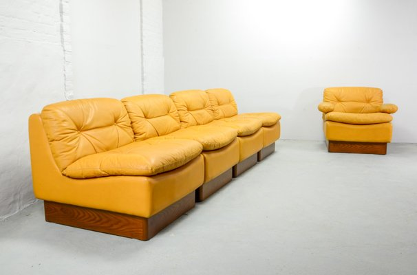 Marvelous Mid Century Deep Yellow Leather Modular Sofa Set From Dreipunkt 1970S Short Links Chair Design For Home Short Linksinfo