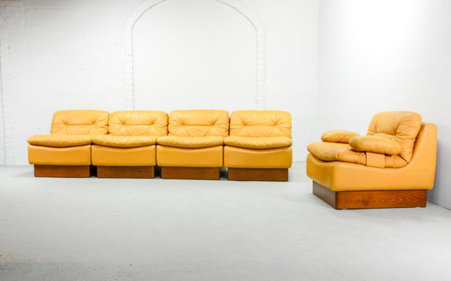 Incredible Mid Century Deep Yellow Leather Modular Sofa Set From Dreipunkt 1970S Short Links Chair Design For Home Short Linksinfo