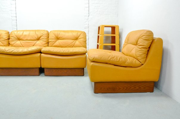Amazing Mid Century Deep Yellow Leather Modular Sofa Set From Dreipunkt 1970S Short Links Chair Design For Home Short Linksinfo