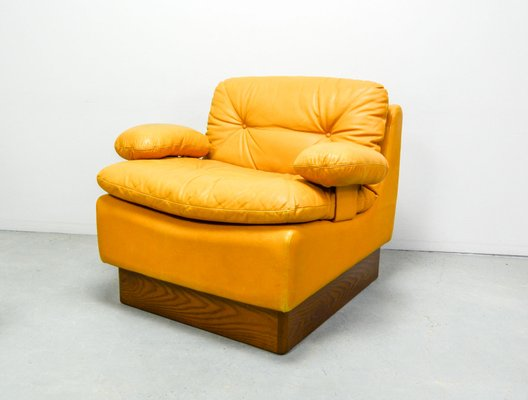 Phenomenal Mid Century Deep Yellow Leather Modular Sofa Set From Dreipunkt 1970S Short Links Chair Design For Home Short Linksinfo