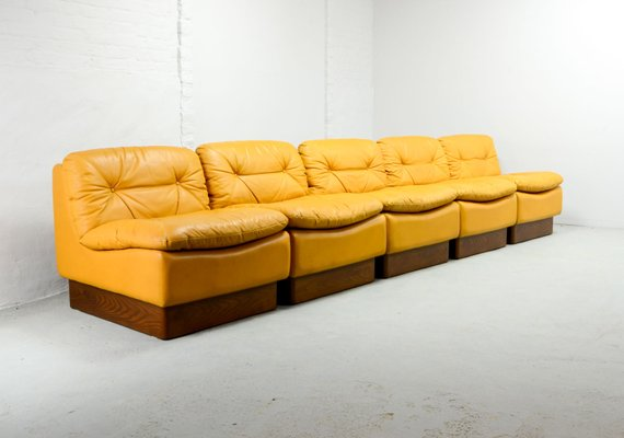 Peachy Mid Century Deep Yellow Leather Modular Sofa Set From Dreipunkt 1970S Short Links Chair Design For Home Short Linksinfo