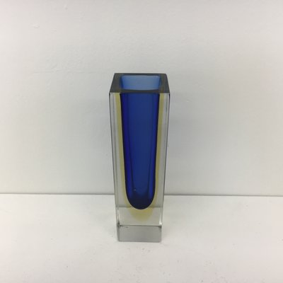 Vintage Italian Blue Yellow Sommerso Murano Glass Vase By