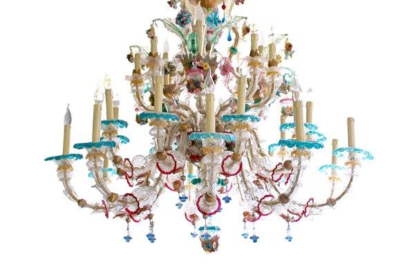 Antique Venetian Murano Glass Chandelier 4 - Antique Venetian Murano Glass Chandelier For Sale At Pamono