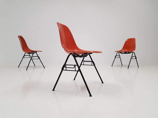 Orange Dss Fiberglass Stacking Chair By Charles Ray Eames For