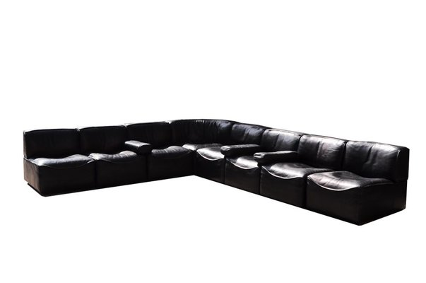 Divano Componibile Curvo : Divano modulare grande modello ds15 in pelle nera di de sede anni