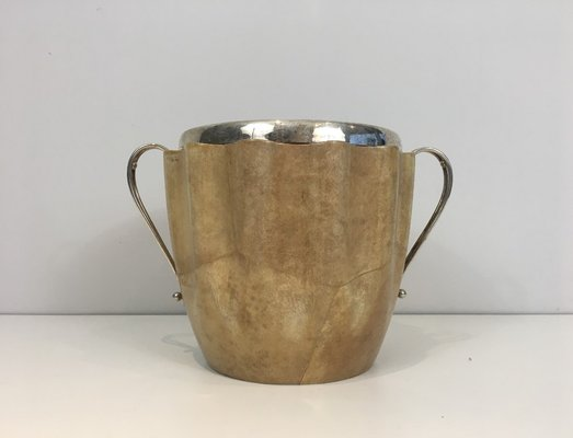 Goatskin And Silver Plated Champagne Bucket By Aldo Tura 1950s 1
