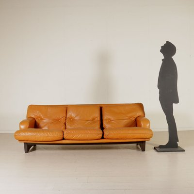 Leather Foam Padding Sofa 1960s For