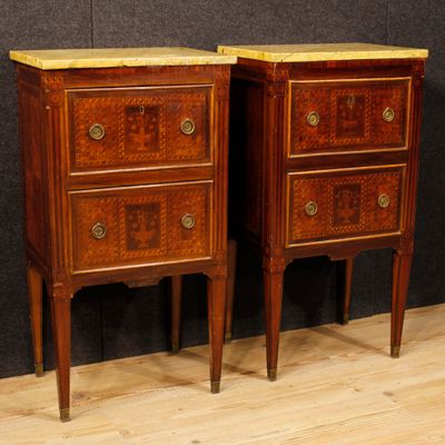 Italian Inlaid Bedside Tables With Marble Top, 1950s, Set Of 2 2