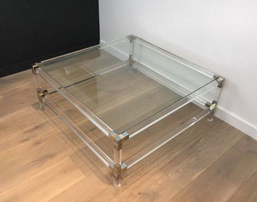 Square Lucite Coffee Table With Chrome Corners And Gl Top 1970s