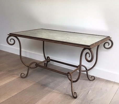 French Wrought And Hammered Iron Coffee Table With Faux Antique Mirror Top  By René Prou, 1940s